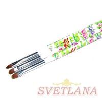 Кисть для геля белая ручка с цветами полукруглый ворс №4