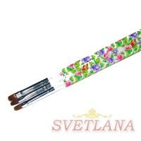 Кисть для геля белая ручка с цветами полукруглый ворс №8