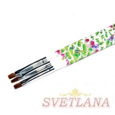 Кисть для геля белая ручка с цветами прямой ворс №6