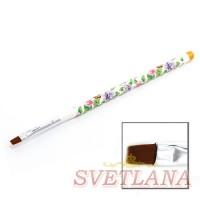 Кисть для геля белая ручка с цветами прямой ворс №8