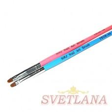 Кисть для геля розовая ручка полукруглый ворс №4