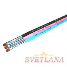 Кисть для геля розовая ручка полукруглый ворс №8