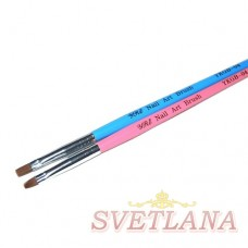 Кисть для геля розовая ручка прямой ворс №4
