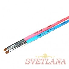 Кисть для геля синяя ручка полукруглый ворс №4
