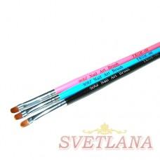 Кисть для геля синяя ручка полукруглый ворс №6