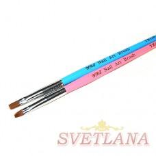 Кисть для геля синяя ручка прямой ворс №4