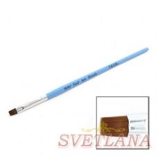 Кисть для геля синяя ручка прямой ворс №6