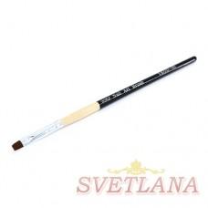 Кисть для геля черная деревянная ручка прямой ворс №4