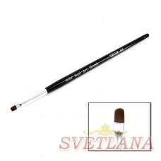 Кисть для геля черная ручка полукруглый ворс №4
