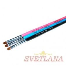 Кисть для геля черная ручка полукруглый ворс №6