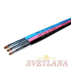 Кисть для геля черная ручка прямой ворс №6