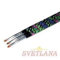 Кисть для геля черная ручка с цветами полукруглый ворс №4