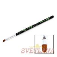 Кисть для геля черная ручка с цветами полукруглый ворс №8
