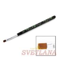 Кисть для геля черная ручка с цветами прямой ворс №4