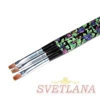 Кисть для геля черная ручка с цветами прямой ворс №6