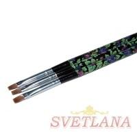 Кисть для геля черная ручка с цветами прямой ворс №8