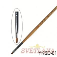 Кисть косая деревянная ручка YKSD-01
