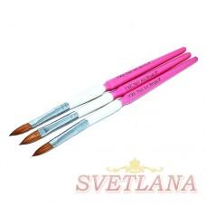 Набор кистей 3шт для акрила (бело-розовая ручка)