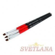 Набор кистей 3шт для китайской росписи (красно-черная ручка)