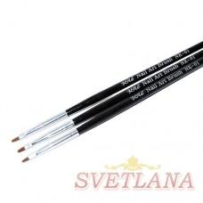 Набор кистей 3шт для китайской росписи (черная ручка/узкий ворс)