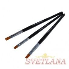 Набор кистей 3шт для китайской росписи (черная ручка/широкий ворс)