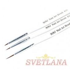 Набор кистей 3шт для рисования (белая короткая ручка)