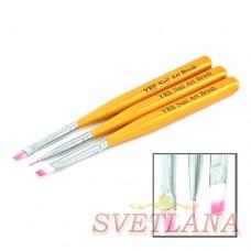 Набор кистей 3шт для рисования (золотая короткая ручка)