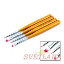 Набор кистей 4шт для рисования (желтая короткая ручка)
