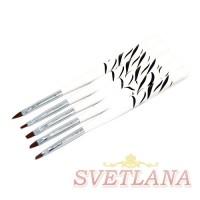 Набор кистей 5шт для китайской росписи (черно-белая короткая ручка)
