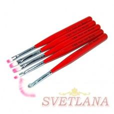 Набор кистей 5шт для рисования (красная/коричневая ручка)