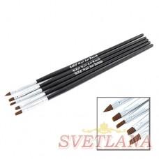 Набор кистей 5шт для рисования (черная ручка)