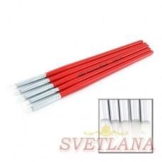Набор кистей 5шт силиконовые красная ручка