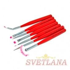 Набор кистей 7шт для рисования (красная короткая ручка)